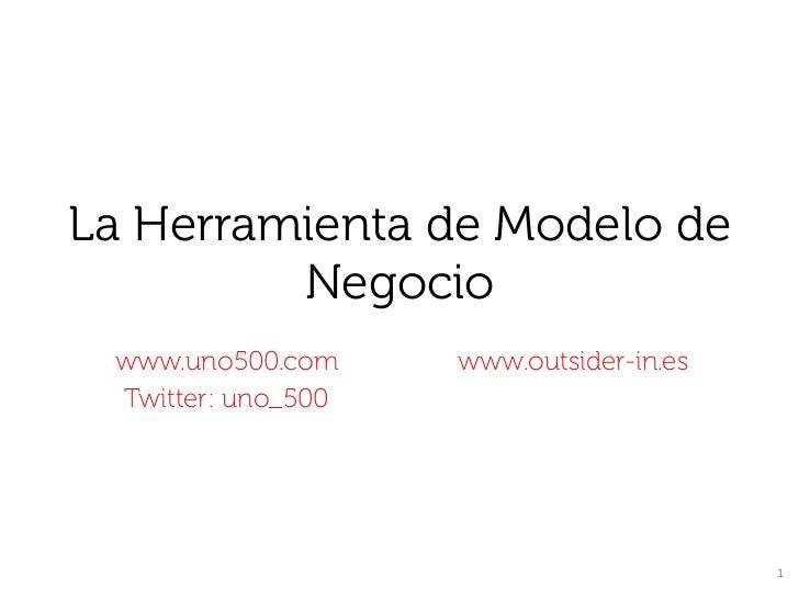 La Herramienta de Modelo de         Negocio www.uno500.com     www.outsider-in.es Twitter: uno_500                        ...