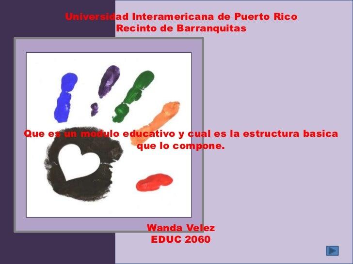 Universidad Interamericana de Puerto Rico                Recinto de BarranquitasQue es un modulo educativo y cual es la es...