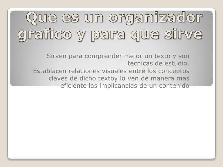 Que es un organizador grafico y para que sirve<br />Sirven para comprender mejor un texto y son tecnicas de estudio.<br />...