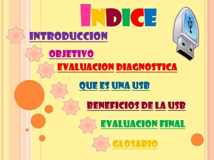 INDICE INTRODUCCION    OBJETIVO     EVALUACION DIAGNOSTICA         QUE ES UNA USB           BENEFICIOS DE LA USB          ...