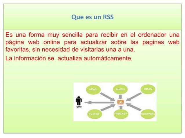 Que es un RSS Es una forma muy sencilla para recibir en el ordenador una página web online para actualizar sobre las pagin...