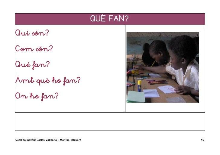 QUÈ FAN?Qui són?Com són?Qué fan?Amb què ho fan?On ho fan?Acollida Institut Carles Vallbona – Montse Talavera              16