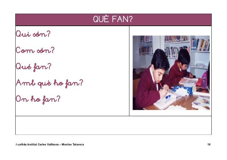 QUÈ FAN?Qui són?Com són?Qué fan?Amb què ho fan?On ho fan?Acollida Institut Carles Vallbona – Montse Talavera              18