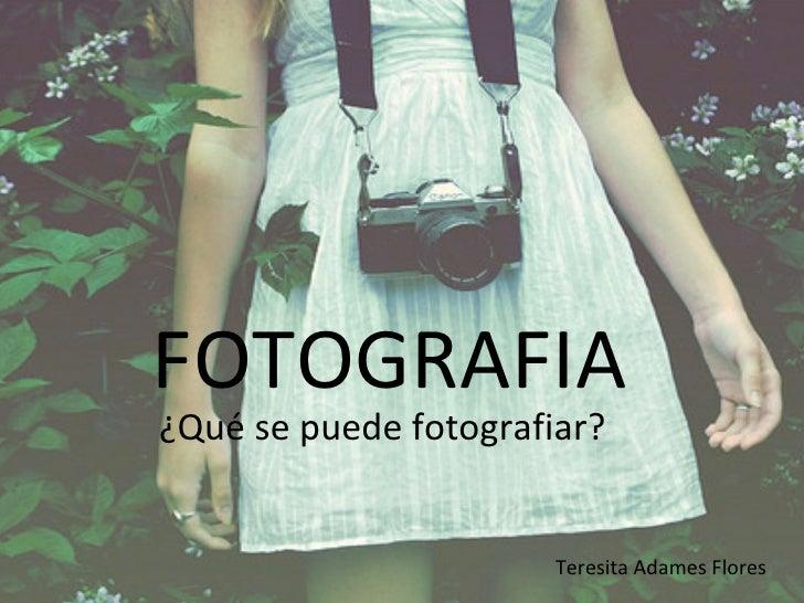 FOTOGRAFIA ¿Qué se puede fotografiar? Teresita Adames Flores