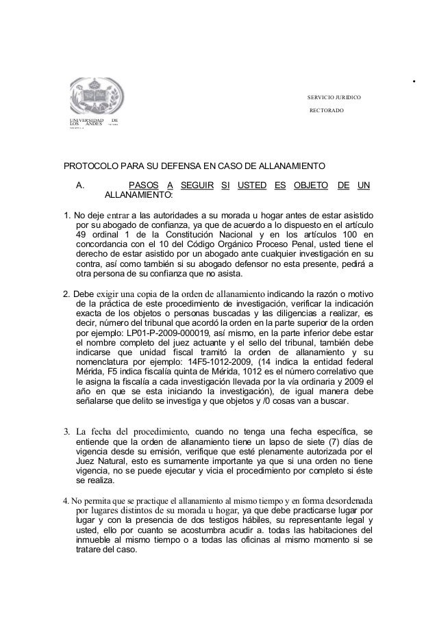 """. SERVICIO JURIDlCO RECTORADO UNIVERSIDAD DE LOS ANDES """"'IL!:IIOA Vt1Nt:ZUV.t..A PROTOCOLO PARA SU DEFENSA EN CASO DE ALLA..."""