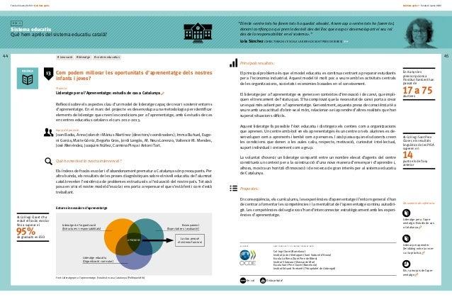 Fundació Jaume Bofill * Què hem après 44 E i x 1 Sistema educatiu Què hem après del sistema educatiu català? Què hem après...