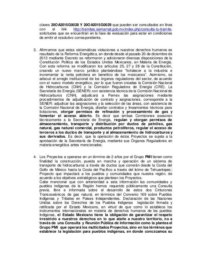claves 20OA2015G0028 Y 20OA2015G0029 que pueden ser consultados en línea con el link http://tramites.semarnat.gob.mx/index...