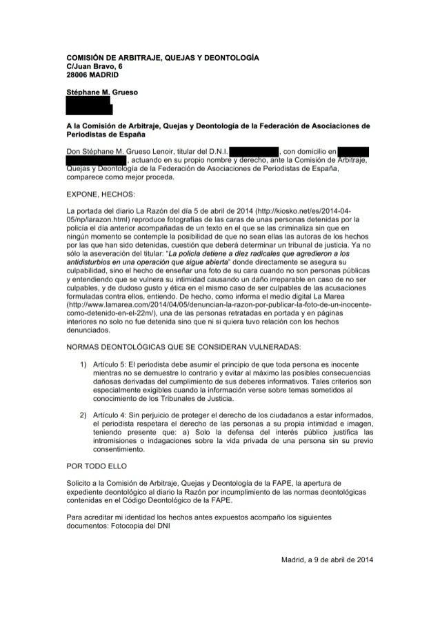 """1 RESOLUCIÓN 2014/97 Sobre vulneración del Código Deontológico de la FAPE en que pudiera haber incurrido el diario """"La Raz..."""