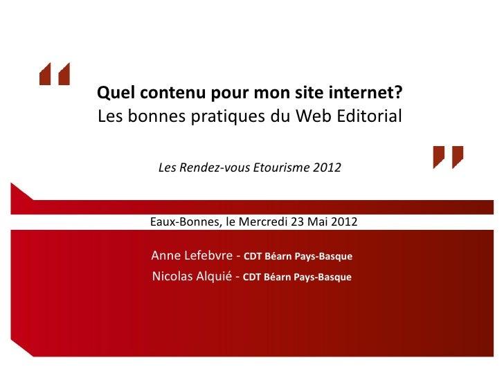 Quel contenu pour mon site internet?Les bonnes pratiques du Web Editorial       Les Rendez-vous Etourisme 2012      Eaux-B...