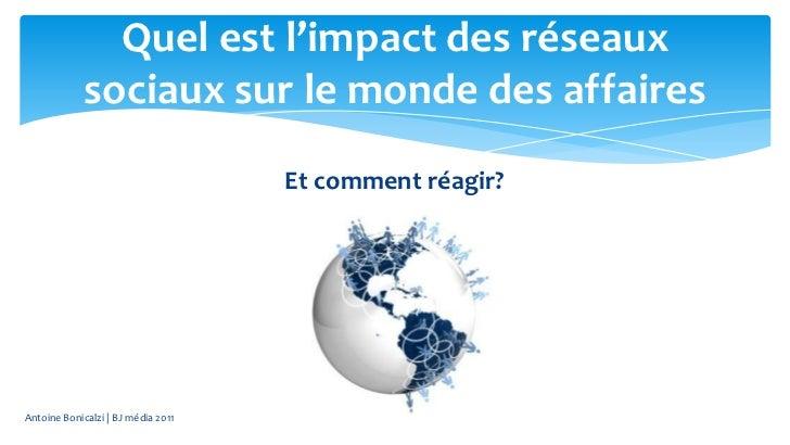 Quel est l'impact des réseaux             sociaux sur le monde des affaires                                    Et comment ...