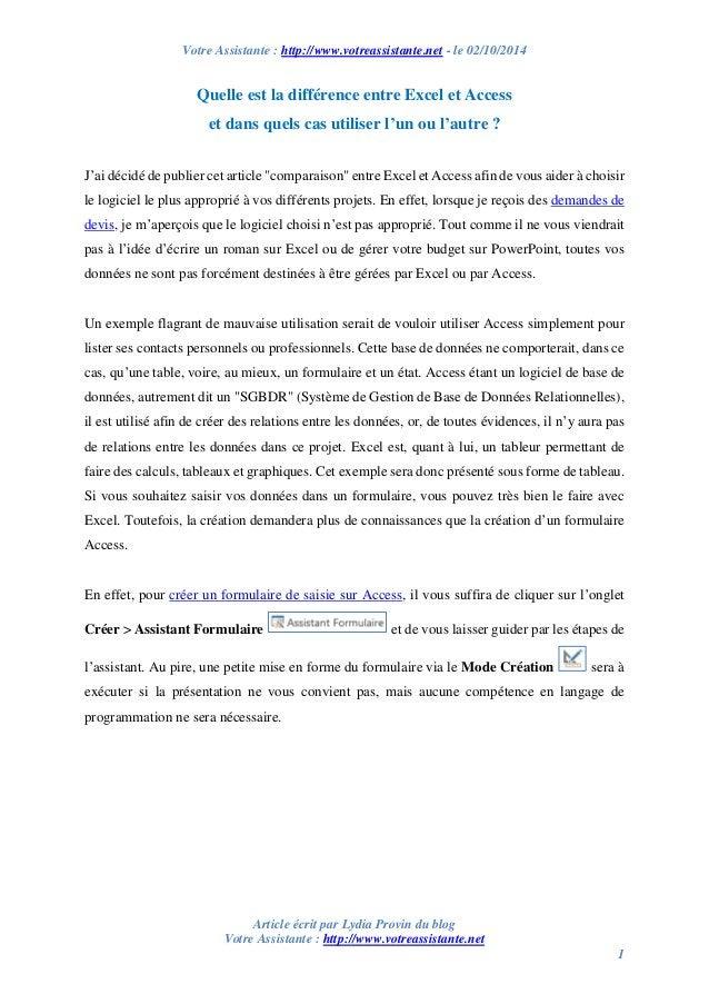Votre Assistante : http://www.votreassistante.net - le 02/10/2014  Article écrit par Lydia Provin du blog  Votre Assistant...