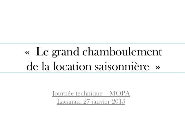 «Le grand chamboulement de la location saisonnière» Journée technique – MOPA Lacanau, 27 janvier 2015