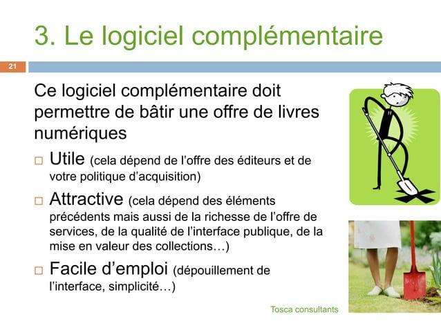 3. Le logiciel complémentaireCe logiciel complémentaire doitpermettre de bâtir une offre de livresnumériques Utile (cela ...