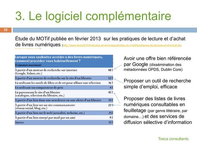 Étude du MOTif publiée en février 2013 sur les pratiques de lecture et d'achatde livres numériques (http://www.lemotif.fr/...