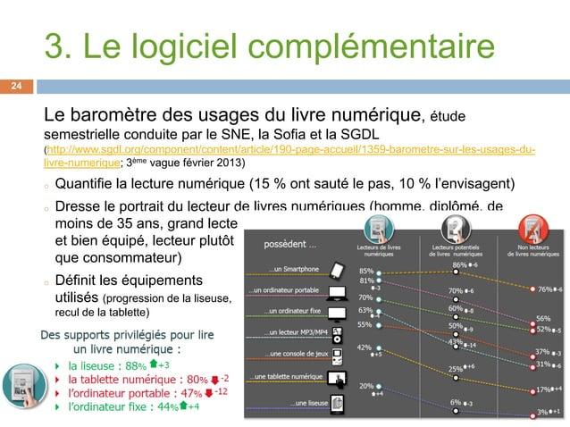 Le baromètre des usages du livre numérique, étudesemestrielle conduite par le SNE, la Sofia et la SGDL(http://www.sgdl.org...