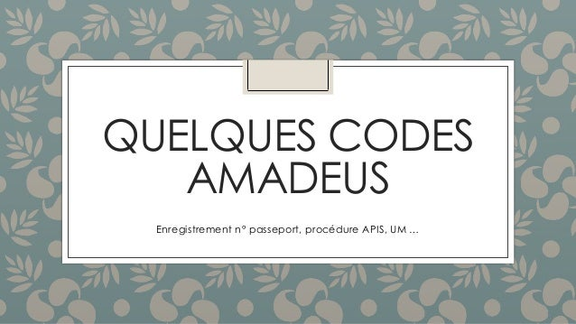 QUELQUES CODES AMADEUS Enregistrement n° passeport, procédure APIS, UM …
