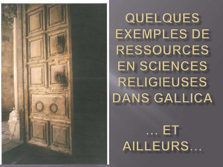 Quelques exemples de ressources en sciences religieuses dans Gallica… et ailleurs…<br />