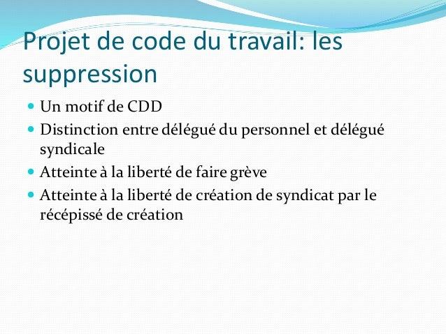 Quelques remarques sur le projet de code de travail for Definition du reglement interieur