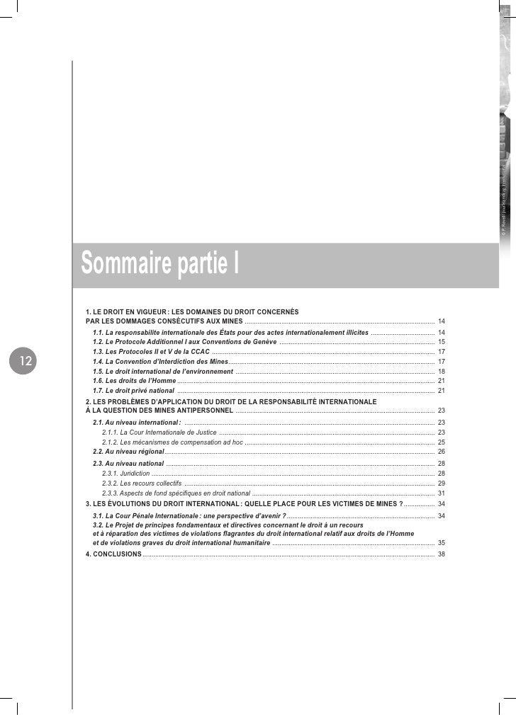 © P. Revelli pour Handicap International      Sommaire partie I      1. LE DROIT EN VIGUEUR : LES DOMAINES DU DROIT CONCER...