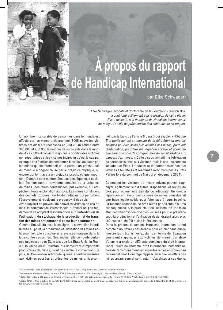 À propos du rapport                                                                             de Handicap International ...