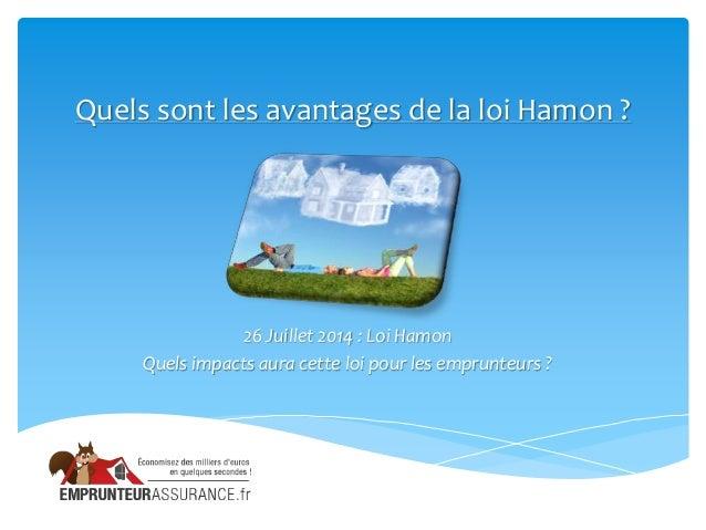 Quels sont les avantages de la loi Hamon ? 26 Juillet 2014 : Loi Hamon Quels impacts aura cette loi pour les emprunteurs ?