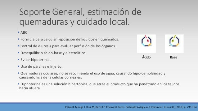 Soporte General, estimación de quemaduras y cuidado local.  ABC  Formula para calcular reposición de líquidos en quemado...