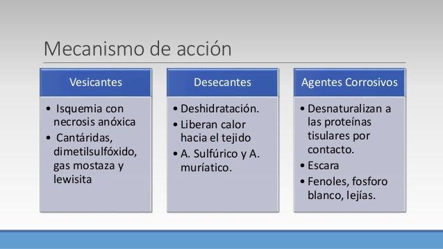 Mecanismo de acción Vesicantes • Isquemia con necrosis anóxica • Cantáridas, dimetilsulfóxido, gas mostaza y lewisita Dese...
