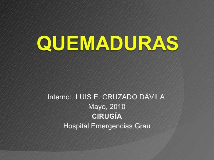 Interno:  LUIS E. CRUZADO DÁVILA  Mayo, 2010 CIRUGÍA Hospital Emergencias Grau