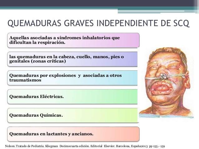 QUEMADURAS GRAVES INDEPENDIENTE DE SCQ Aquellas asociadas a síndromes inhalatorios que dificultan la respiración. las quem...