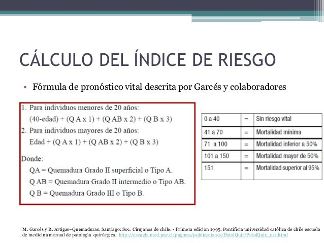 CÁLCULO DEL ÍNDICE DE RIESGO • Fórmula de pronóstico vital descrita por Garcés y colaboradores M. Garcés y R. Artigas–Quem...