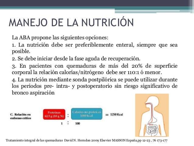 MANEJO DE LA NUTRICIÓN La ABA propone las siguientes opciones: 1. La nutrición debe ser preferiblemente enteral, siempre q...