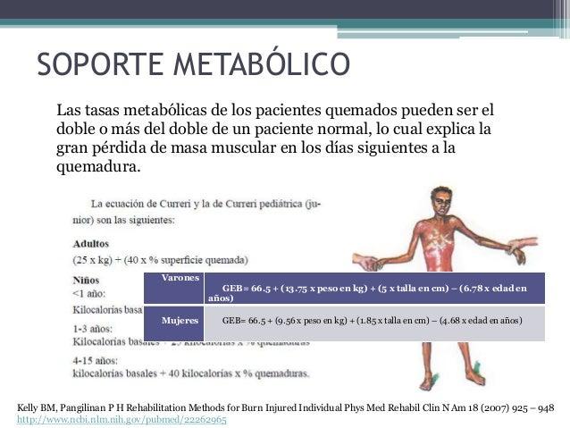 SOPORTE METABÓLICO Las tasas metabólicas de los pacientes quemados pueden ser el doble o más del doble de un paciente norm...