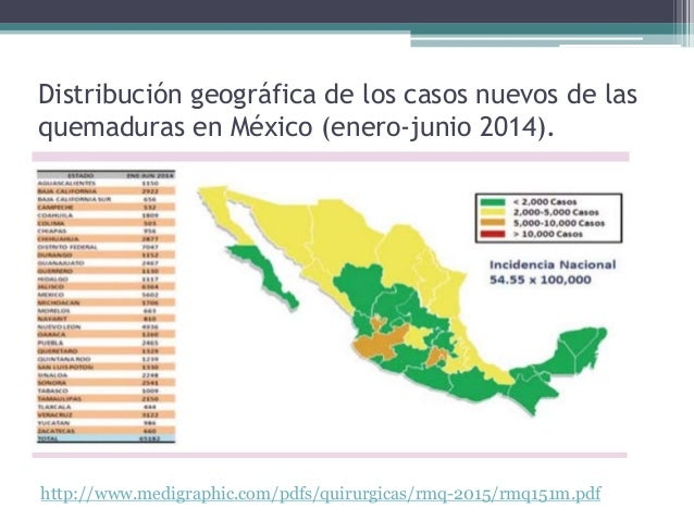 Distribución geográfica de los casos nuevos de las quemaduras en México (enero-junio 2014). http://www.medigraphic.com/pdf...