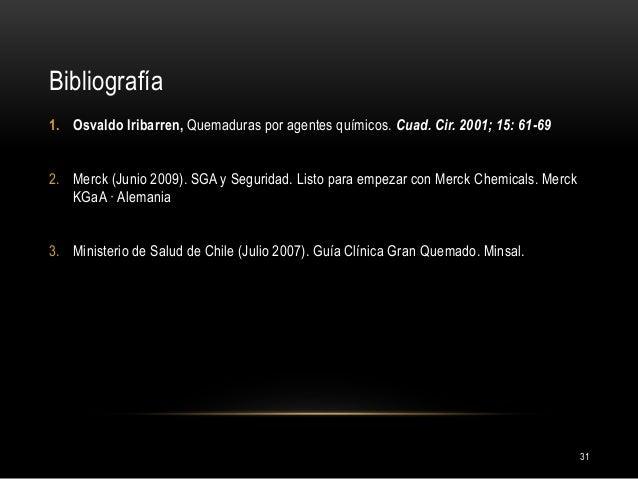Bibliografía 31 1. Osvaldo Iribarren, Quemaduras por agentes químicos. Cuad. Cir. 2001; 15: 61-69 2. Merck (Junio 2009). S...