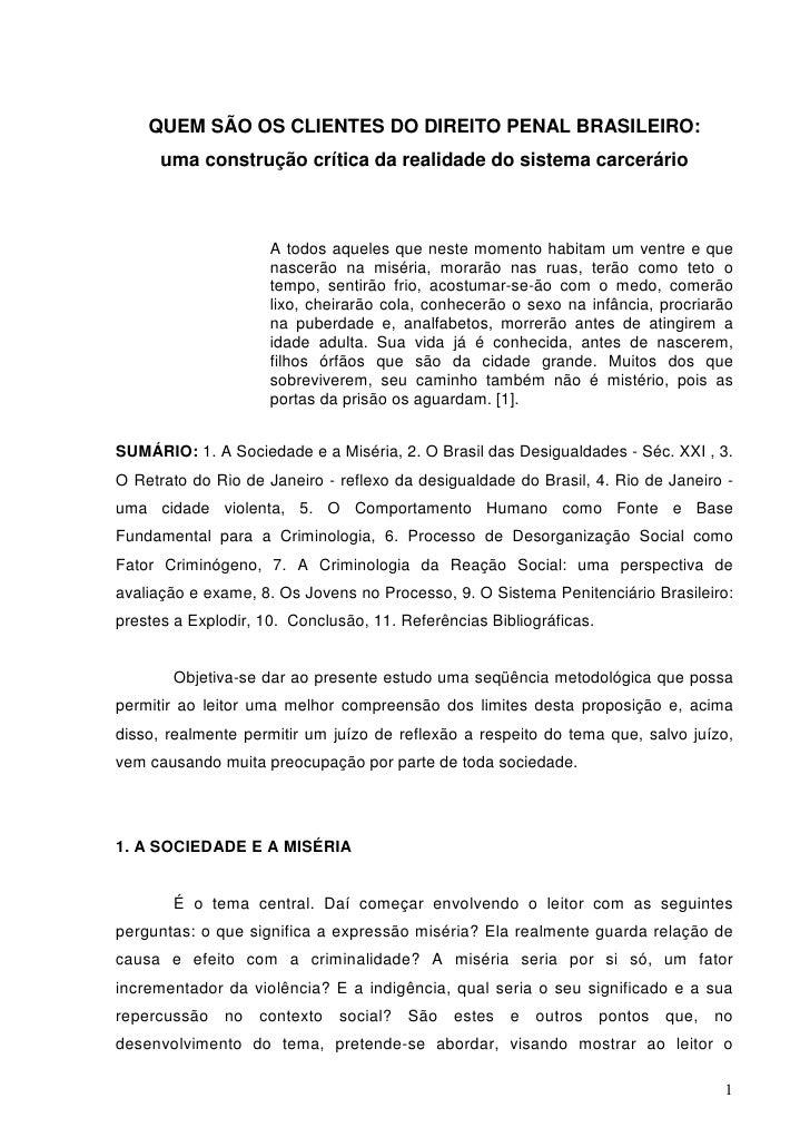 Quem são os clientes do direito penal brasileiro
