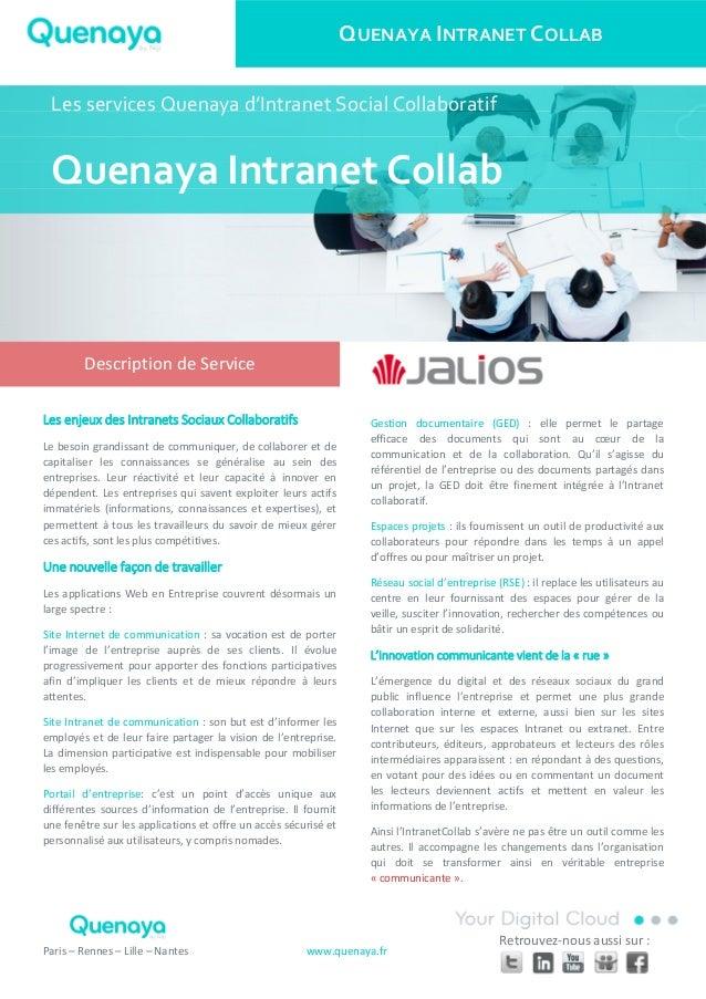 QUENAYA INTRANET COLLAB Paris – Rennes – Lille – Nantes www.quenaya.fr Retrouvez-nous aussi sur : Les enjeux des Intranets...