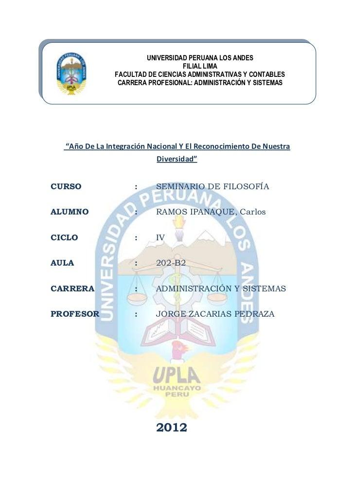 UNIVERSIDAD PERUANA LOS ANDES                                  FILIAL LIMA               FACULTAD DE CIENCIAS ADMINISTRATI...