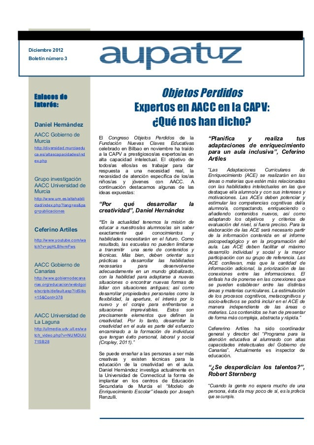 Diciembre 2012Boletín número 3  Enlaces de                                           Objetos Perdidos  interés:           ...