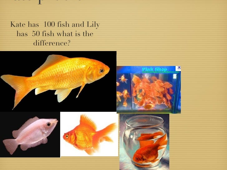 Kate problem  <ul><li>Kate has  100 fish and Lily has  50 fish what is the difference?  </li></ul>