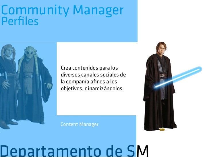 Community ManagerFunciones            •   Es la presencia de la marca en la red            •   Es un RRPP 2.0. Contacta co...