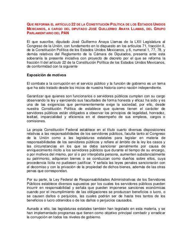 QUE REFORMA EL ARTÍCULO 22 DE LA CONSTITUCIÓN POLÍTICA DE LOS ESTADOS UNIDOSMEXICANOS, A CARGO DEL DIPUTADO JOSÉ GUILLERMO...