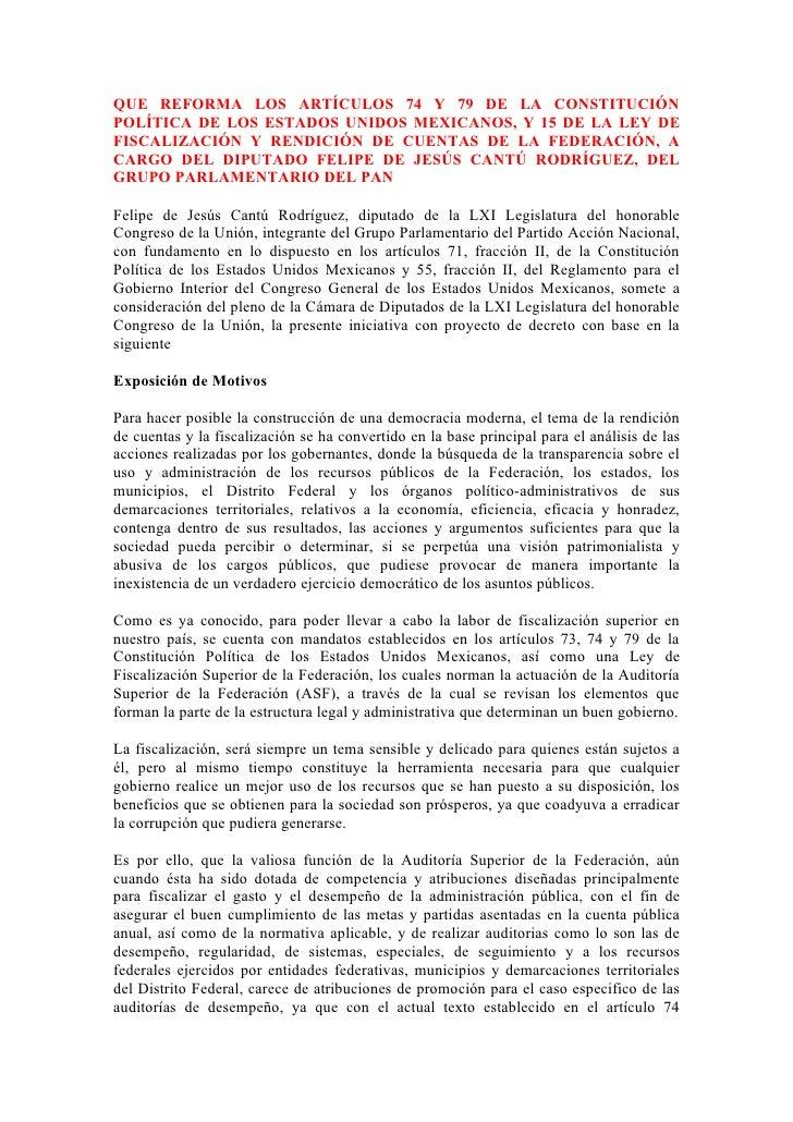 QUE REFORMA LOS ARTÍCULOS 74 Y 79 DE LA CONSTITUCIÓN POLÍTICA DE LOS ESTADOS UNIDOS MEXICANOS, Y 15 DE LA LEY DE FISCALIZA...