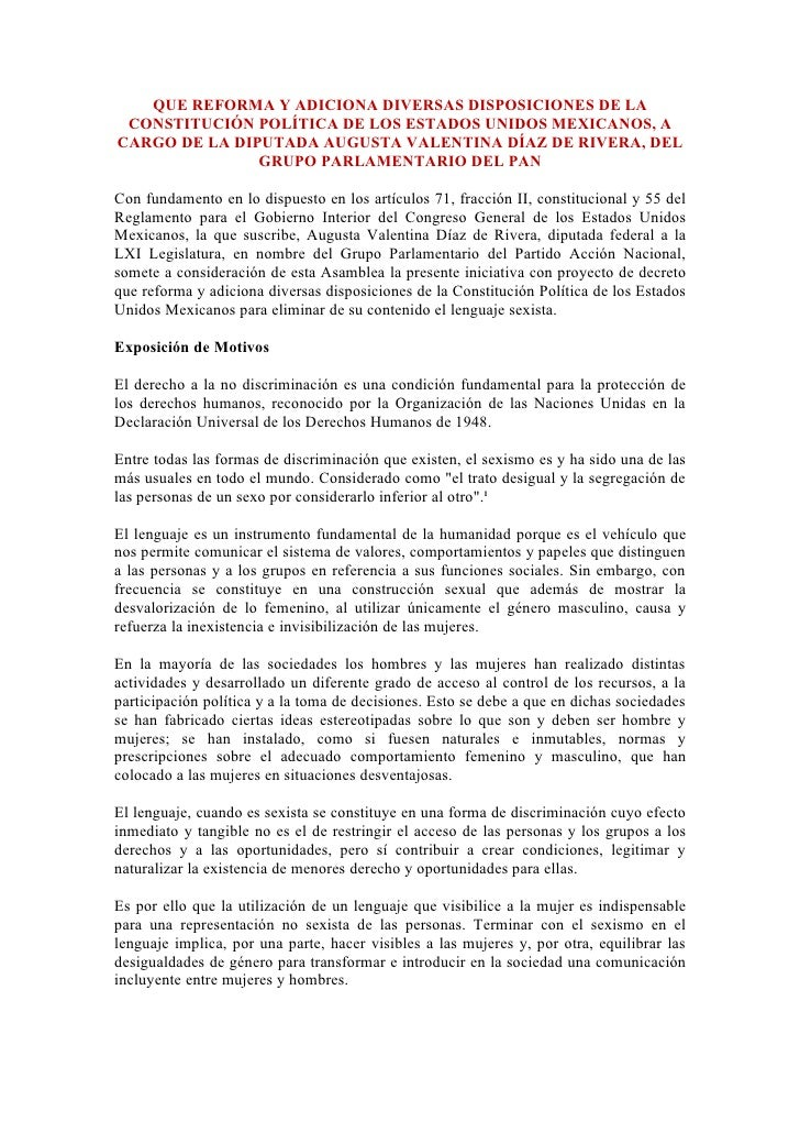 QUE REFORMA Y ADICIONA DIVERSAS DISPOSICIONES DE LA  CONSTITUCIÓN POLÍTICA DE LOS ESTADOS UNIDOS MEXICANOS, A CARGO DE LA ...