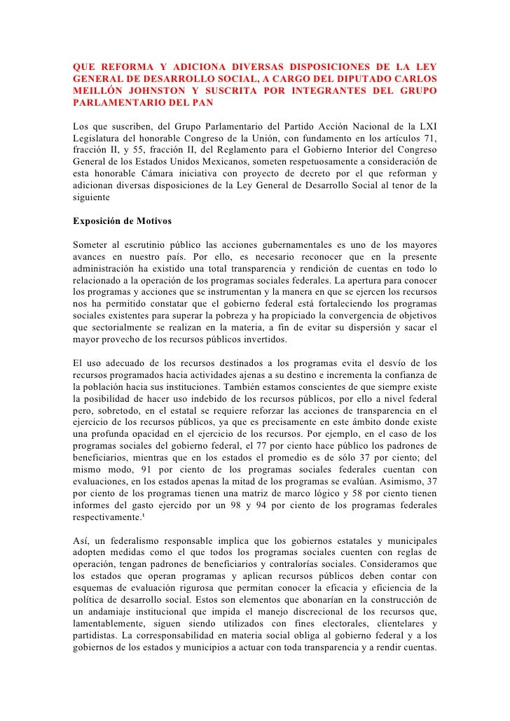 QUE REFORMA Y ADICIONA DIVERSAS DISPOSICIONES DE LA LEY GENERAL DE DESARROLLO SOCIAL, A CARGO DEL DIPUTADO CARLOS MEILLÓN ...