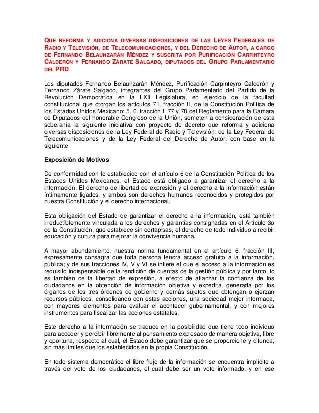 QUE REFORMA Y ADICIONA DIVERSAS DISPOSICIONES DE LAS LEYES FEDERALES DERADIO Y TELEVISIÓN, DE TELECOMUNICACIONES, Y DEL DE...