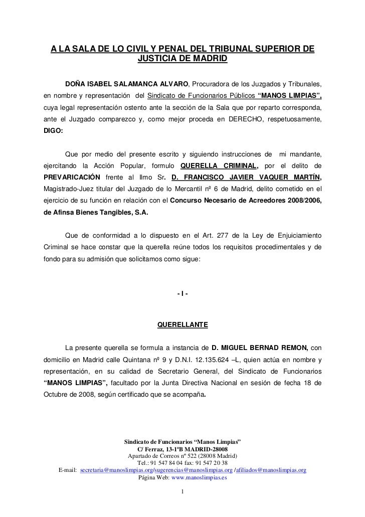 A LA SALA DE LO CIVIL Y PENAL DEL TRIBUNAL SUPERIOR DE                    JUSTICIA DE MADRID        DOÑA ISABEL SALAMANCA ...