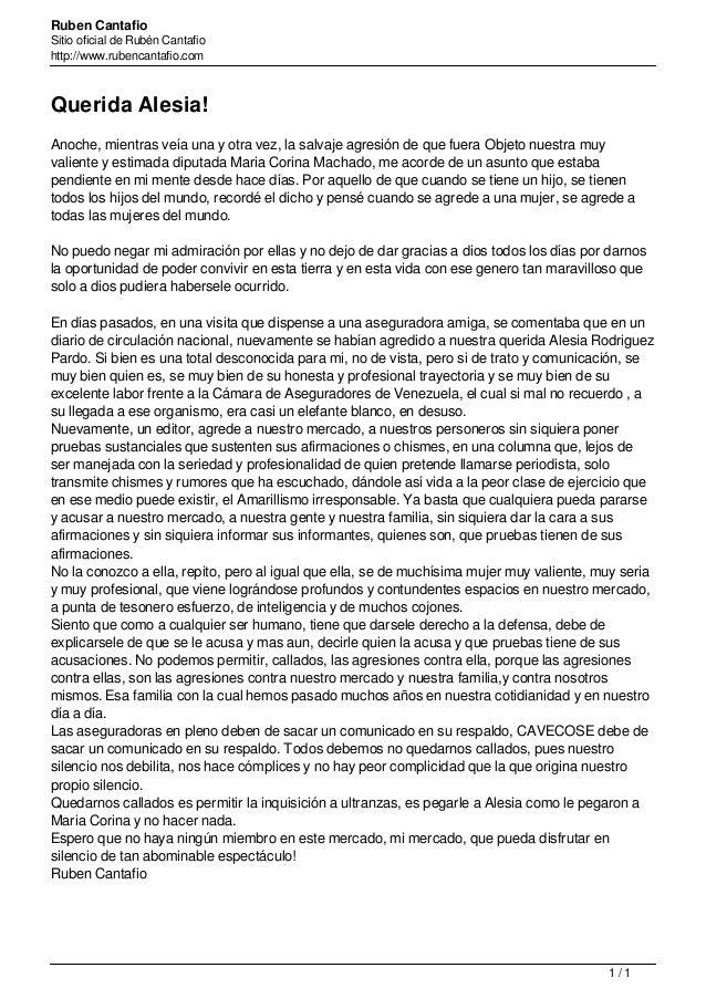 Ruben Cantafio Sitio oficial de Rubén Cantafio http://www.rubencantafio.com Querida Alesia! Anoche, mientras veía una y ot...