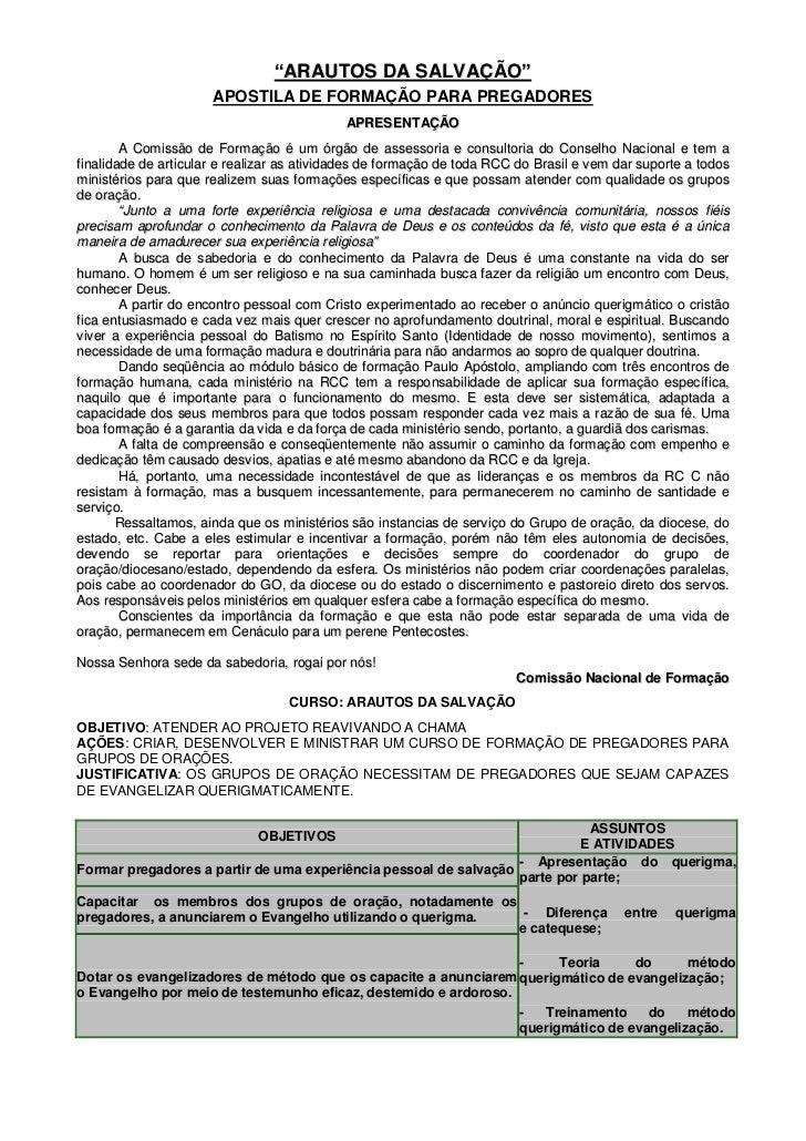 """""""ARAUTOS DA SALVAÇÃO""""                      APOSTILA DE FORMAÇÃO PARA PREGADORES                                           ..."""