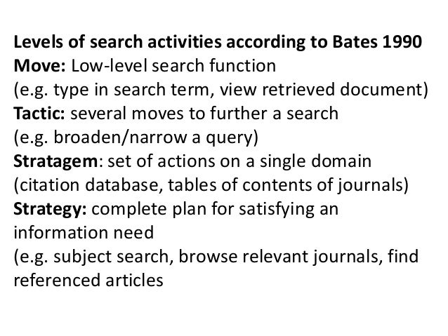 Levels of search activities according to Bates 1990 Move: Low-level search function (e.g. type in search term, view retrie...