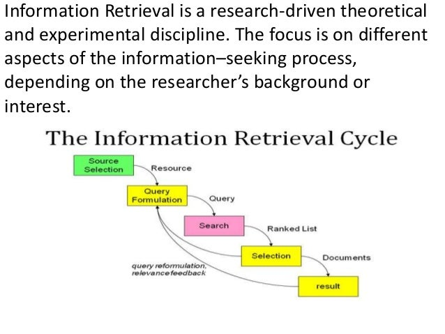 Information Retrieval is a research-driven theoretical and experimental discipline. The focus is on different aspects of t...